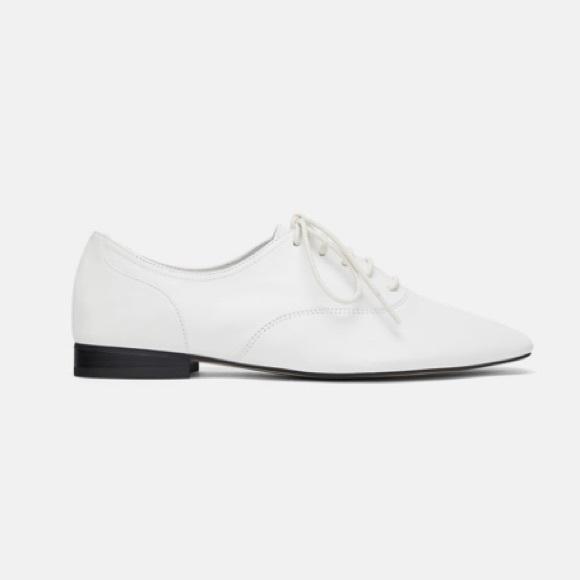 Nib Zara White Leather Laceup Oxford